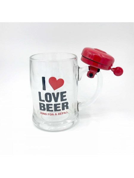 Кружка пивная со звонком I Love Beer