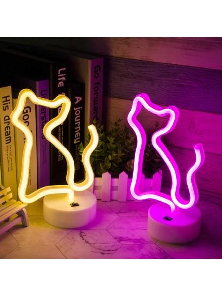 Неоновый светильник Кошка