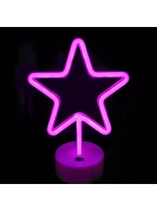 Неоновый светильник Розовая Звезда USB