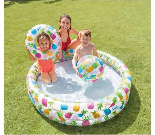 Детский бассейн Ананасы с кругом и мячом