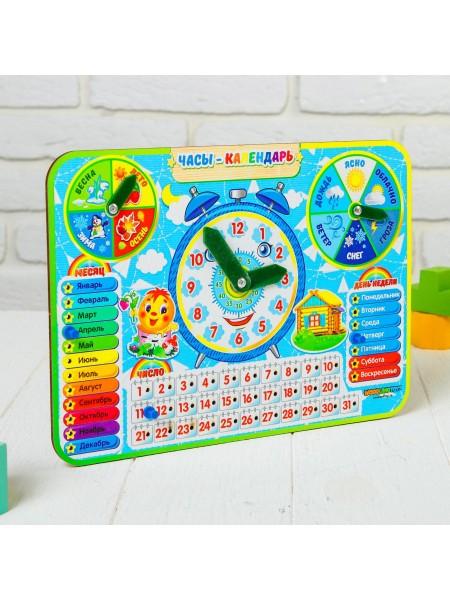 Обучающие часы календарь из дерева
