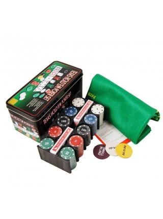 Набор для покера 200 фишек с сукном