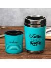 Бирюзовый термостакан «Счастье пахнет кофе и печеньками»