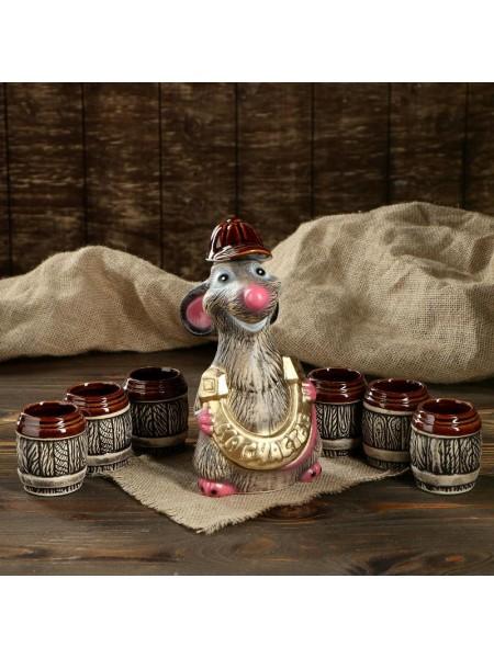 Штоф Крыса с подковой в наборе с рюмками